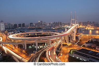 ponte, sciangai, porcellana, night., nanpu