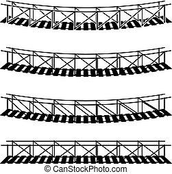 ponte, semplice, simbolo, corda, nero, appendere, sospensione