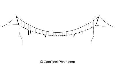 ponte, semplice, simbolo, corda, vettore, nero, appendere, sospensione