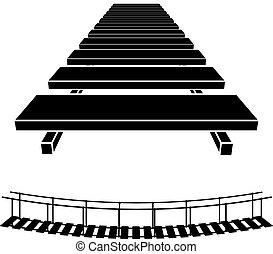 ponte, semplice, simbolo, legno, nero, 3d