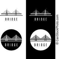 ponte, set, astratto, vettore, disegno, sagoma, costruzione