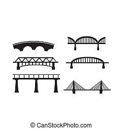 ponte, set, fondo., vettore, bianco, icona