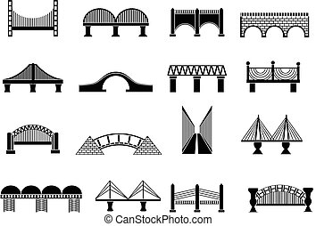 ponte, set, icone