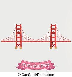 ponte, sfondo dorato, cancello, bianco, icona
