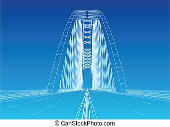 ponte, silhouette, cancello dorato