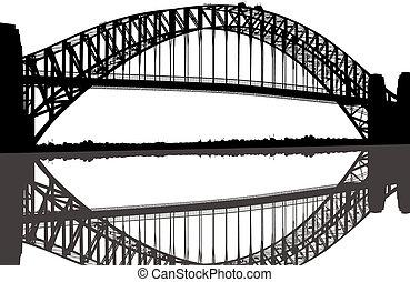 ponte, silhouette, porto sydney