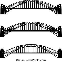 ponte, simbolo, metallo, porto, nero, sydney