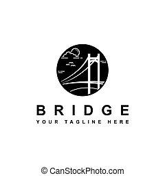 ponte, simbolo, silhouette