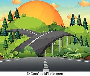 ponte, sopra, strada, montagne