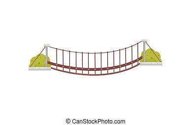ponte, sospensione, appartamento, legno, elemento, mobile, gioco, vettore, footbridge., appendere, piccolo, verde, bushes.