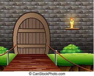 ponte, sospensione, esterno, fondo, casa