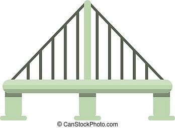 ponte, stile, cavo, metallo, icona, cartone animato