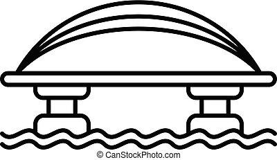 ponte, stile, contorno, cavo, metallo, icona