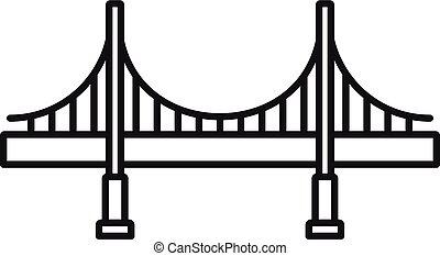 ponte, stile, contorno, grande, metallo, icona
