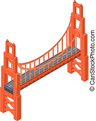 ponte, stile, dorato, isometrico, icona, cancello