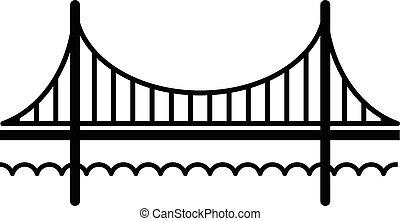 ponte, stile, dorato, semplice, nero, icona, cancello