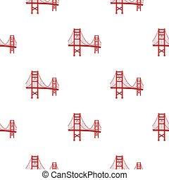 ponte, stile, illustration., stati uniti, dorato, paese, isolato, fondo., vettore, modello, cancello, bianco, icona, cartone animato, casato