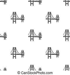 ponte, stile, illustration., stati uniti, dorato, paese, isolato, fondo., vettore, nero, modello, cancello, bianco, icona, casato