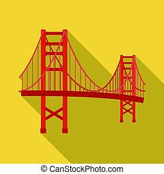 ponte, stile, illustration., stati uniti, dorato, paese, simbolo, isolato, flate, fondo., vettore, cancello, bianco, icona, casato