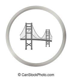 ponte, stile, illustration., stati uniti, dorato, paese, simbolo, isolato, fondo., vettore, cancello, monocromatico, bianco, icona, casato