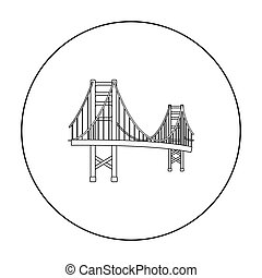 ponte, stile, illustration., stati uniti, dorato, paese, simbolo, isolato, fondo., vettore, cancello, bianco, casato, icona, contorno