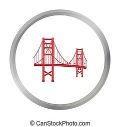 ponte, stile, illustration., stati uniti, dorato, paese, simbolo, isolato, fondo., vettore, cancello, bianco, icona, cartone animato, casato