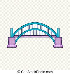ponte, stile, porto, sydney, icona, cartone animato