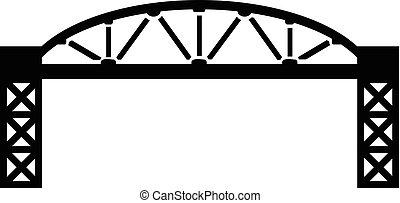 ponte, stile, semplice, metallo, nero, icona