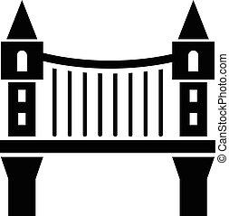 ponte, stile, semplice, nero, icona, torre