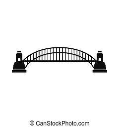 ponte, stile, semplice, porto, sydney, icona