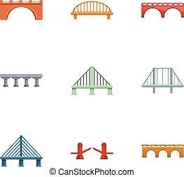 ponte, stile, set, viaggiare, cartone animato, icona