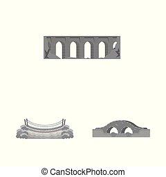 ponte, stock., oggetto, isolato, costruire, vettore, disegno, collezione, logo., icona