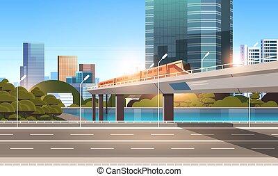 ponte, strada, grattacieli, città, moderno, appartamento, monorotaia, incrocio, treno, autostrada, fondo, cityscape, strada, orizzontale, ferrovia, urbano
