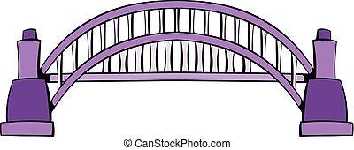 ponte, sydney, cartone animato, porto, icona