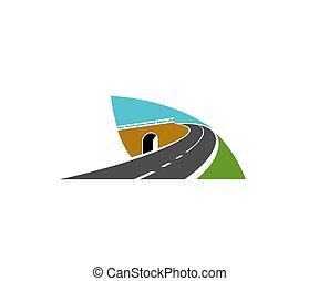 ponte, turno, superstrada, strada, sopra, icona, vettore
