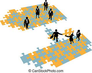ponte, unire, persone affari, squadre, costruire