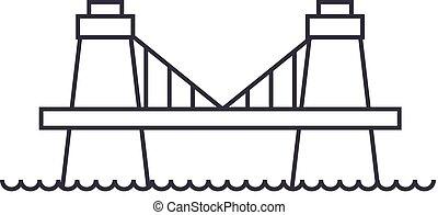 ponte, vettore, colpi, editable, britannico, segno, fondo, illustrazione, icona, linea