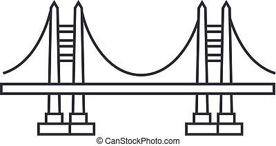 ponte, vettore, colpi, editable, illustrazione, segno, fondo, icona, linea