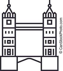 ponte, vettore, colpi, editable, illustrazione, segno, fondo, londra, icona, torre, linea