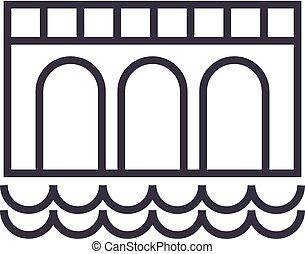 ponte, vettore, colpi, editable, illustrazione, segno, segno, fondo, icona, linea