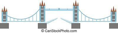 ponte, vettore, fiume, illustration.