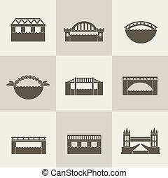 ponte, vettore, icona
