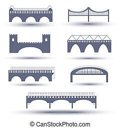 ponte, vettore, set, icona