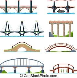 ponti, architettonico, urbano, trave, ponte, o, flat., vettore, colonna, immagini, acquedotto, oggetti