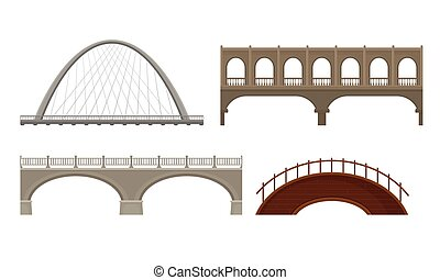 ponti, bianco, vettore, fatto, set, concreto, vario, metallo, fondo, isolato, tipi