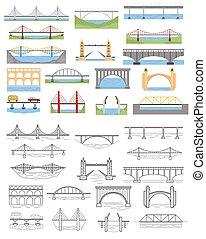 ponti, grafico, lineare, colorare, set., infographic, tipi, disegno, elementi