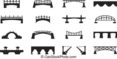 ponti, icone, isolato, silhouette, vettore, nero, costruzione, bianco, urbano