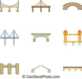 ponti, stile, icone, set, vario, cartone animato, tipi
