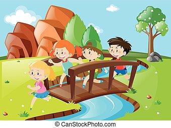 ponticello incrocio, parco, bambini, molti
