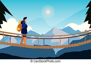 ponticello incrocio, uomo, paesaggio, montagne